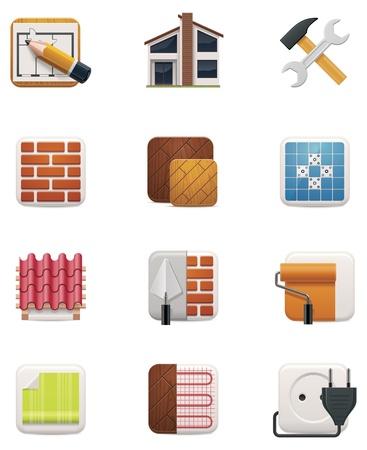 servicio domestico: Casa renovaci�n icon set Parte 1 Vectores