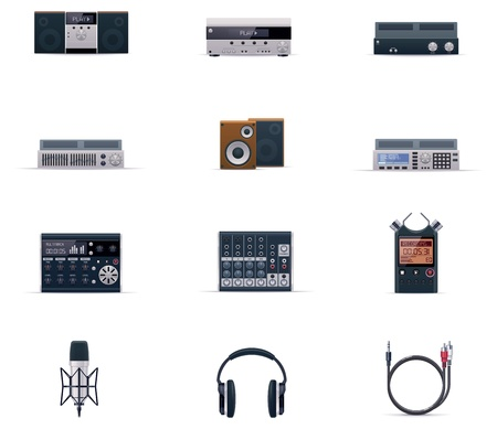 portable player: Vector audio electronics icon set