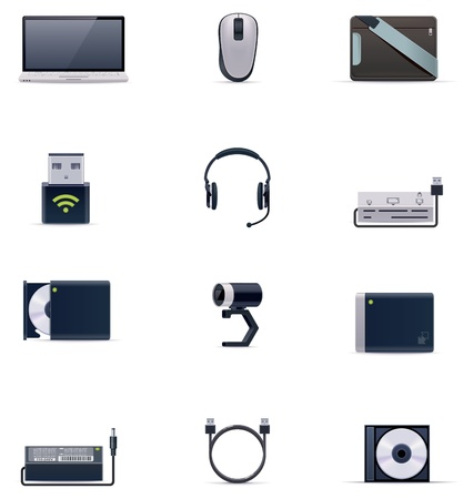 psu: Vector laptop accessories icon set