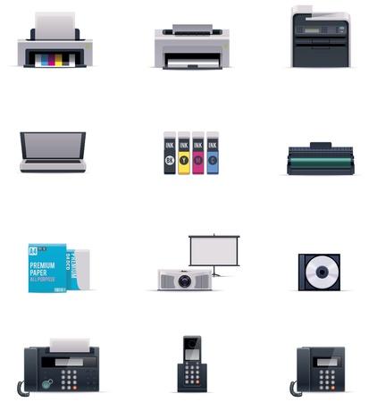 impresora: Vector icono conjunto oficina electrónica