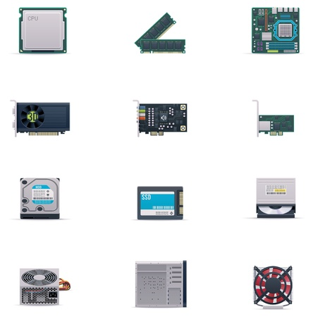 computer cpu: Vector computer parts icon set