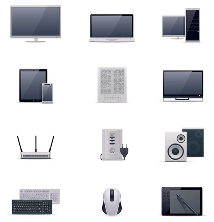 monoblock: Vector computer icon set