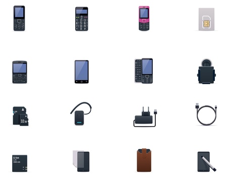 monoblock: Vector cell phones and accessories icon set
