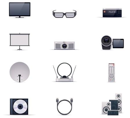Vector video electronics icon set Vector
