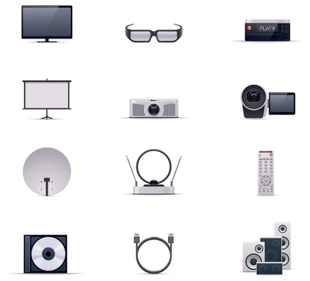 portable player: Vector video electronics icon set