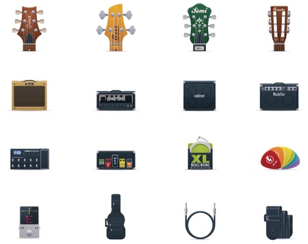 amps: Vector guitar equipment icon set Illustration
