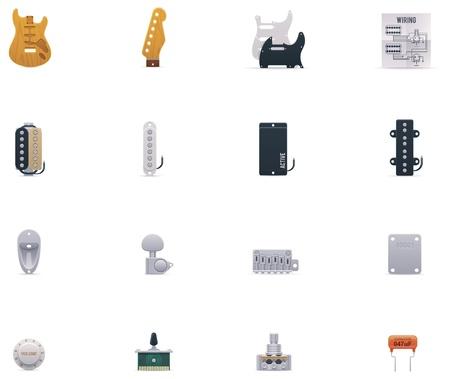 tremolo: chitarra parti di set di icone Vettoriali