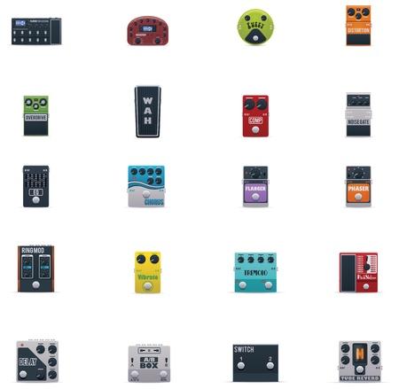 superdirecta: Vector efectos de guitarra iconos conjunto