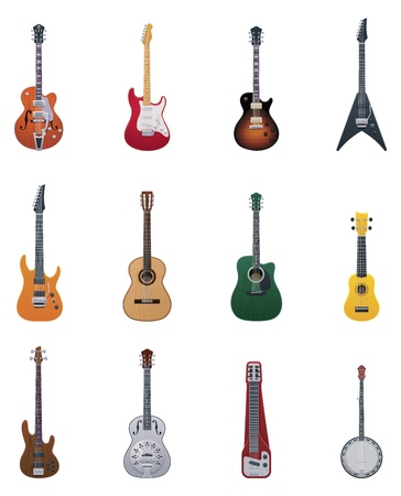 acoustic: Vector guitars icon set