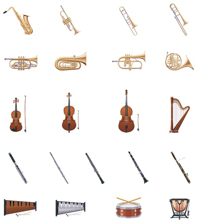 orquesta clasica: Instrumentos del vector de la Orquesta
