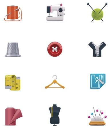 bordados: Vector icon set de costura Vectores