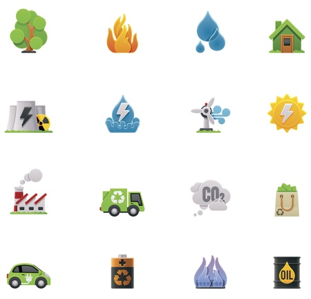 zonnepanelen huis: Vector ecology icon set Stock Illustratie