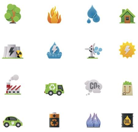 zasilania: Vector set icon ekologia