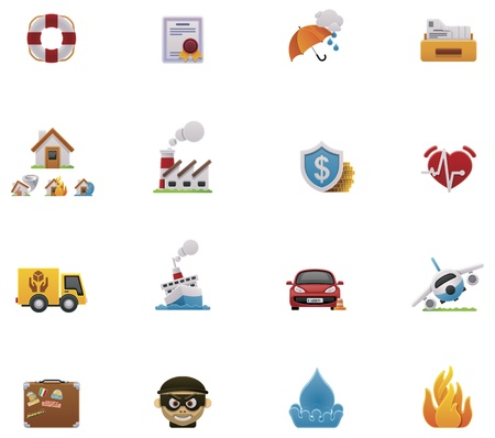 house flood: Vector insurance icon set Illustration