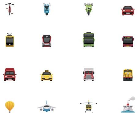 motor de carro: Vector icono conjunto transporte Vectores