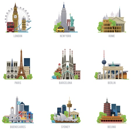 barcelona spain: Vector travel destinations icon set Illustration