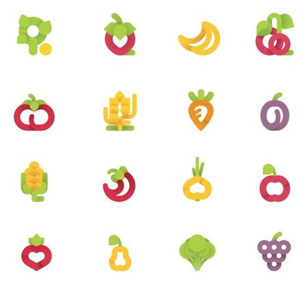 tomate de arbol: Las frutas y verduras del vector fijados Vectores