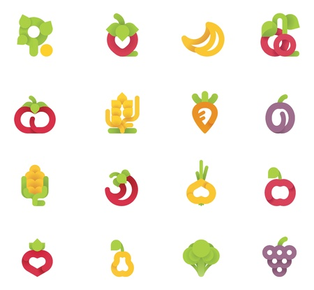 Vector fruits and vegetables set Vector