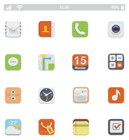 smartphone apps: Generic smartphone UI icons Illustration