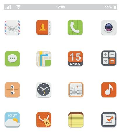 clock radio: Iconos gen�ricos interfaz de usuario de smartphone Vectores