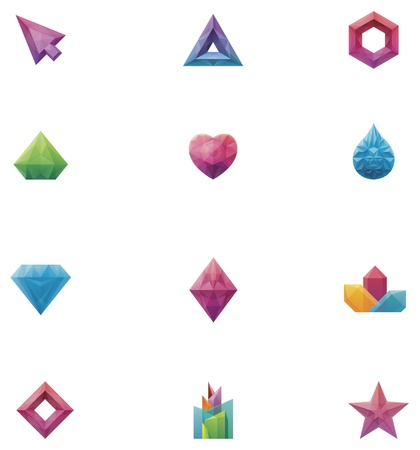 diamond shape: crystals set Illustration
