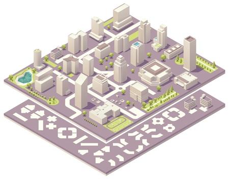 the center of the city: Isom�trico kit de creaci�n de mapa de la ciudad