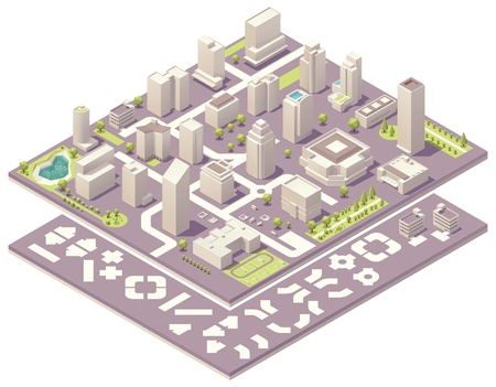 route map: Isometric city map creation kit