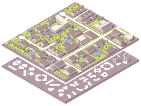 estate planning: Isometric small town map creation kit