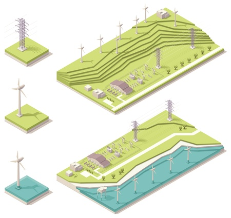 substation: Isometric wind farm