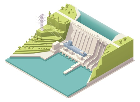 dam: Isometric hydroelectric power station