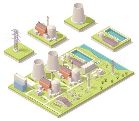 Isometrische kerncentrale Stock Illustratie