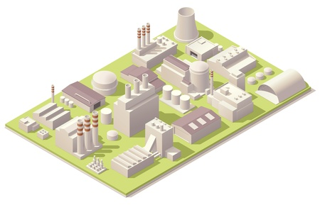 Isometric factory buildings Vector