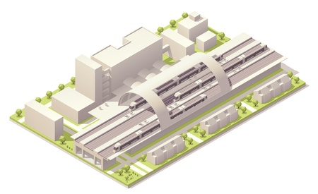 railway track: Isometrisch modern station Stock Illustratie