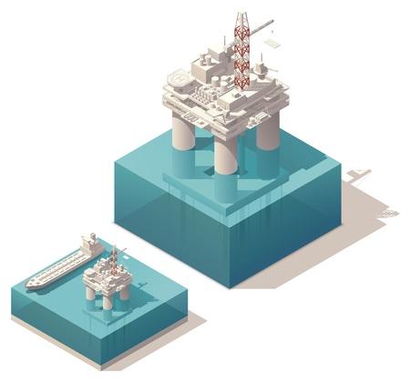 �leo: plataforma de petr�leo isom�trica com ilustra��o navio tanque Ilustra��o