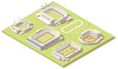 Isometric stadium buildings set
