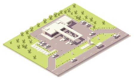 gases: Isometric filling station building Illustration