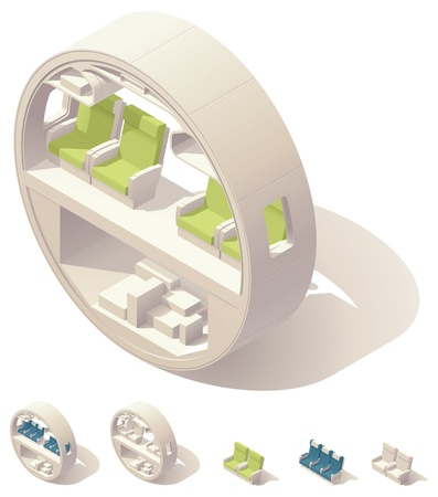 seat: Isometric aircraft cabin cross-section