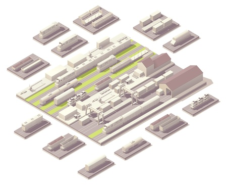 Isometric railroad yard  Ilustrace