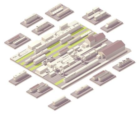 isometrico: Patio del ferrocarril isométrica Vectores