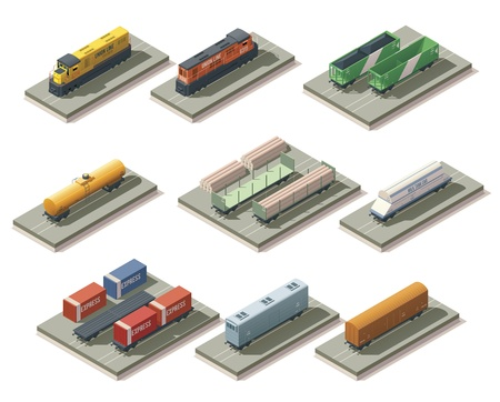goods train: Isometric trains and cars Illustration