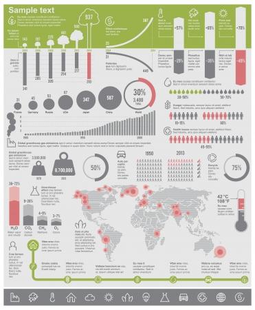 Vector milieuproblemen infographic elementen Vector Illustratie