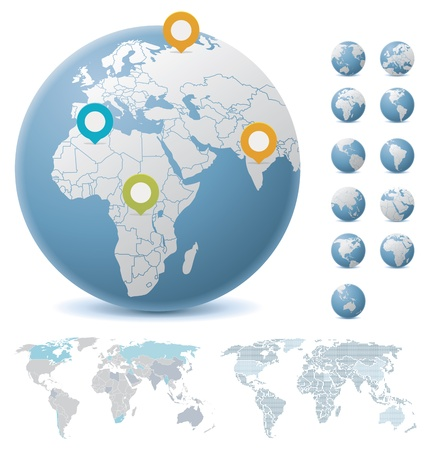세계지도와 글로브 일러스트