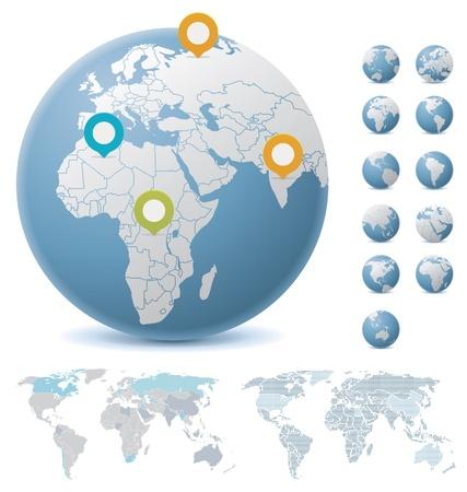 weltkugel asien: Weltkarten und Globen Illustration