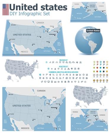 carte: États-Unis cartes avec des marqueurs