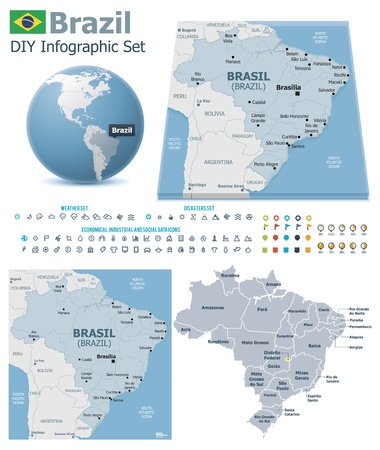 Federative Republic of Brazil maps with markers Vector