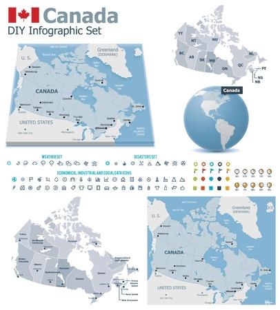 mapa: Mapas de Canadá con marcadores