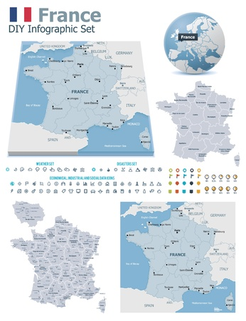 France maps with markers Stock Vector - 21427769