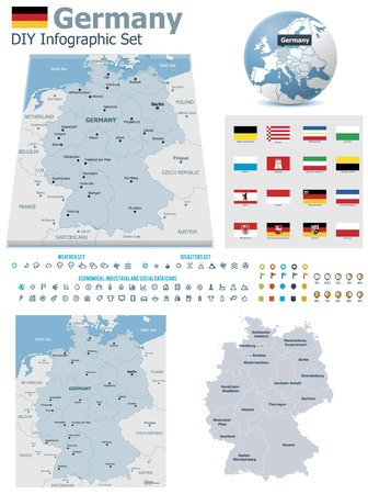 Federal Republic of Germany maps with markers Stock Vector - 21427770