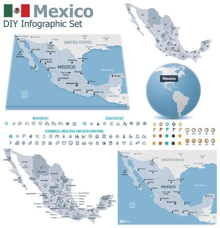 Мексика: Мексиканских Соединенных Штатов карты с маркерами Иллюстрация