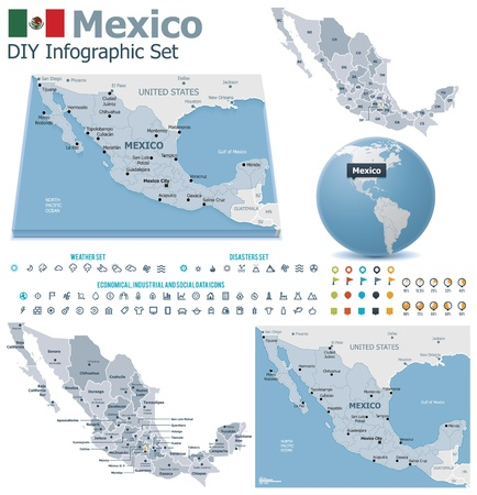 subdivisions: United Mexican States maps with markers Illustration